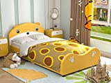 mecor Children Toddler Bed - Twin Size Cute Bear Upholstered Platform Bed Frame with Headboard Footboard - Kids Bed for Boys Girls, Teens - Yellow