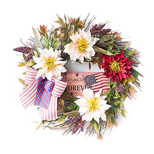 Tanmo 16 Inch Independence Day Wreath Front Door Patriotic Garland God Bless America