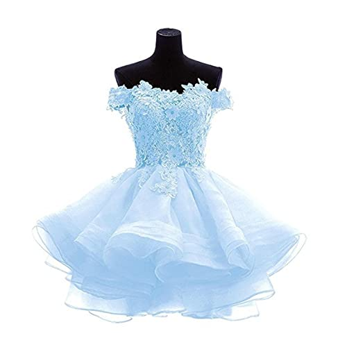 c4ad9b026da LeoGirl Womens Off Shoulder Floral Appliques Short Prom Dresses Juniors  Homecoming Sweet 16 Party Ball Gown