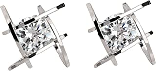 Square Zircon Crystal Stud Earrings For Women Tic Tac Toe Stainless Steel Gold Color Fashion Jewelry