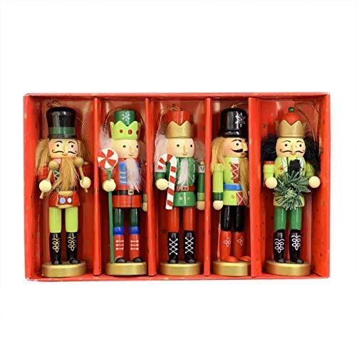 ayaowangluok 5 soldados cascanueces de madera, 12 cm, cascanueces de soldado escocés, decoración navideña pintada con exquisita caja de embalaje para el hogar, fiesta temática de Navidad
