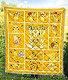 Personalized Pika Pika Pikachu Quilt Pikachu Pokemon Lover All Season Quilt, Cotton Quilt King Queen Twin Throw Size - Best Gifts for Mom Dad On Thanksgiving, Christmas