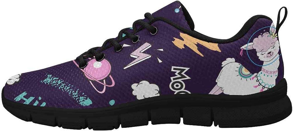 InterestPrint Llama Unicorn in Space Women Walking Shoes Comfortable Lightweight Work Casual Travel Sneakers