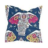 Linomo Bufanda de seda de gasa para mujer, elefante indio, cuadrado, chal de seda como bufanda