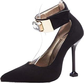 9089616cd86655 YE Sexy Escarpins Talon Aiguilles Haut Bout Pointu Daim Bride Cheville  Scratch avec Strass Chaussure Daim