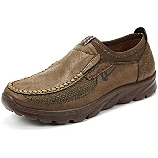 Customer reviews gracosy Men's Casual Leather Shoes, Slip On Shoes Men Hand Stitching Cow Leather Non-Slip Casual Shoes Sneaker Walking Loafer Boat Shoes Tan 10 UK:Donald-trump
