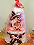 Pink Monkey Baby Girl Diaper Cake (3 Tier) - Baby Shower Centerpiece/ New Baby Gift/ Welcome Baby Gift