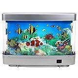 PUTOWUT Acuario imitación de vida acuática Lámpara decorativa de acuario de peces tropicales artificiales, luz nocturna, océano virtual en movimiento