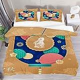 Juego de ropa de cama transpirable Happy Mid Otoño Póster 3 piezas funda de edredón (1 funda de edredón + 2 fundas de almohada) decoración de la habitación microfibra ultra suave