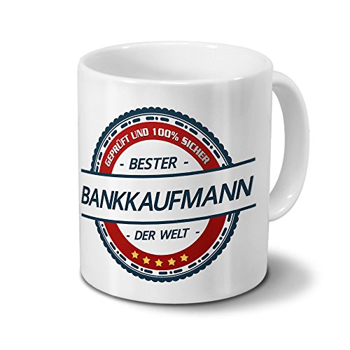 printplanet Tasse mit Beruf Bankkaufmann - Motiv Berufe - Kaffeebecher, Mug, Becher, Kaffeetasse - Farbe Weiß