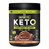 Nature Fuel Keto Meal Replacement Powder - Gluten Free with Coconut Oil MCTs and Grass-Fed Butter - Double Chocolate Milkshake - 14 Servings - Pantry Friendly