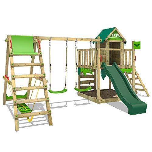 Fatmoose Speeltoren klimrek JazzyJungle met schommel SurfSwing & groene glijbaan, speelhuisje met zandbak, ladder & speelaccessoires