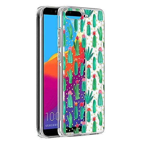 Eouine Huawei Y6 2018 Hülle, Schutzhülle Silikon Transparent mit Muster Motiv Handyhülle  Ultra Dünn] Slim Stoßfest Weich TPU Bumper Case Backcover für Huawei Y6 2018 (Kaktus)