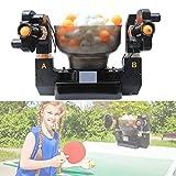 卓球ロボット両頭トレーニングマシン100トレーニングボール、ピンポン自動ランチャー不規則な追加料金調整可能な旋回範囲コントロールボックス
