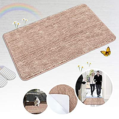 "Indoor Doormat Front Door Mat Non Slip Rubber Backing Super Absorbent Mud and Snow Magic Inside Dirts Trapper Mats Entrance Door Rug Shoes Scraper Machine Washable Rug Carpet - Brown, 20""x 31.5"""