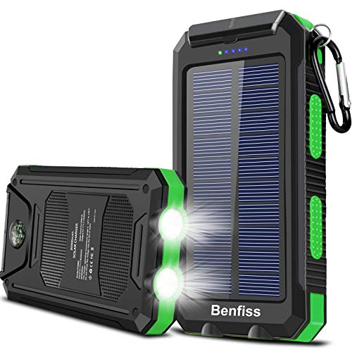 Solar Power Bank, BENFISS 20000mAh Portable Solar Charger for Cell Phone, Built-in Dual 5V USB/LED Flashlight and Compass, Waterproof External Backup Battery Pack for Outdoor Activities (Green)