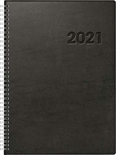 rido/idé 7027501901 Buchkalender Conform, 1 Seite = 1 Tag, 210 x 291 mm, Kunststoff-Decke schwarz, Kalendarium 2021, Wire-O-Bindung