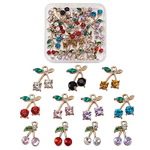 Beadthoven - 30 ciondoli a forma di ciliegia, con cristalli di ciliegie, per graziosi braccialetti, orecchini, gioielli