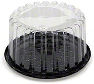 Pactiv YCI8-9701, 7-Inch Plastic Black Base Cake Container With Clear Deep Dome Lid, Pastry Display Box (100)
