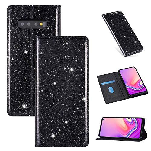 ZTOFERA Funkelnd Ledertasche für Samsung S10, Premium PU Leder Flip Brieftasche Tasche mit [Magnetverschluss] [Kickstand] [Kartensteckplatz] Superdünne Notebook Hülle für Samsung Galaxy S10-Schwarz