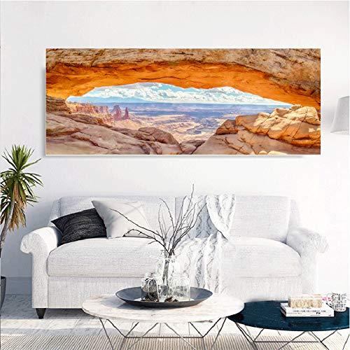 Rahmenlose Malerei Steinkunst Seelandschaft Leinwand für Wohnzimmer Poster Wandkunst Home DecorationZGQ5202 20X50cm