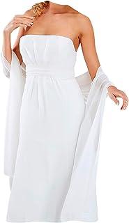 BrautChic Chiffon Stola Chiffonschal - Brautstola perfekt zum Brautkleid - Festliche Chiffonstola - Abendstola - Elegant Klassisch - Hochzeit Abendkleid Abiballkleid - 230 cm x 50 cm - WEIß, IVORY