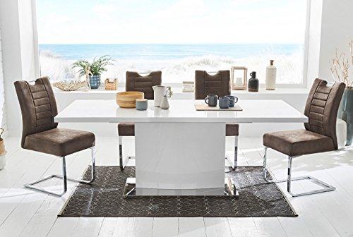 lifestyle4living Tisch, Esstisch, Ausziehtisch, Säulentisch, Küchentisch, Esszimmertisch, weiß, Hochglanz, Synchronauszug, Edelstahl Fuß, Maße 160 x 90 cm