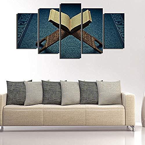 Relovsk Lienzo Pintura Estilo Marco de pared Arte Imágenes 5 Panel Musulmán para sala Islam Libro Cuadros Decoración moderna Pinturas_40x60cmx2 40x80cmx2 40x100cmx1 Frame