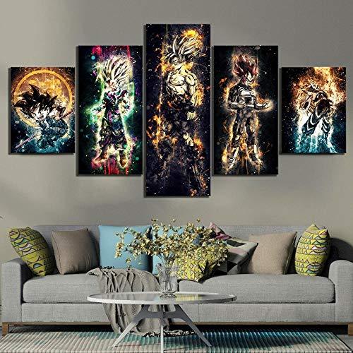 ZDDBD Lienzo Modular Impresiones en HD Carteles artísticos de Pared 5 Paneles Dragon Ball Anime Pinturas de Moda niños habitación decoración del hogar imágenes