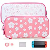 Tscope Cute Carrying Case for Nintendo Switch, Pink Sakura Portable Hard Shell Grils Travel Storage Bag, Accessories kit with Glass Screen Protector & Thumb Grip Caps