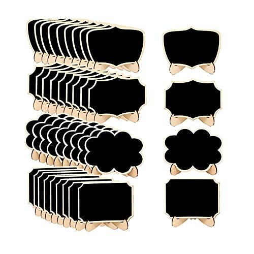Etiquetas de pizarra de madera, pizarra borrable de la vendimia, etiquetas de rectángulo de la mesa de rectángulo, para fiesta, restaurante, boda, encimera de bar y hogar AJMINI
