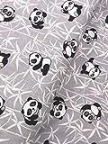 Baumwollstoff Kinderstoff Panda Bär grau mint Breite 160cm