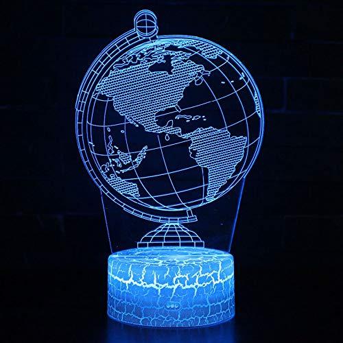 Globus Erde Hologramm 3d Lampe Nachttischlampe, 7 farben Nachtlicht fürs Kinderzimmer,Schlafzimmer Schreibtischlampe für Kids'Gifts Home Dekoration