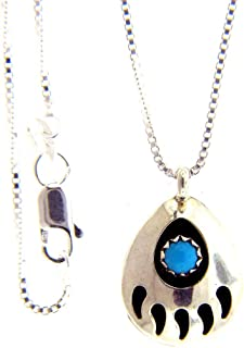 By Navajo Artist Gaynell Parker: Shadow Box Sterling-Silver & Turquoise Bear Paw Pendant-Necklace