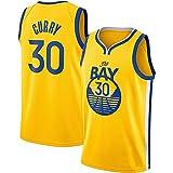 QiuiuQ Camisetas De Baloncesto De Malla De Malla Sin Mangas Curry Golden State Warriors # 30 Swingman Jersey,Amarillo,S