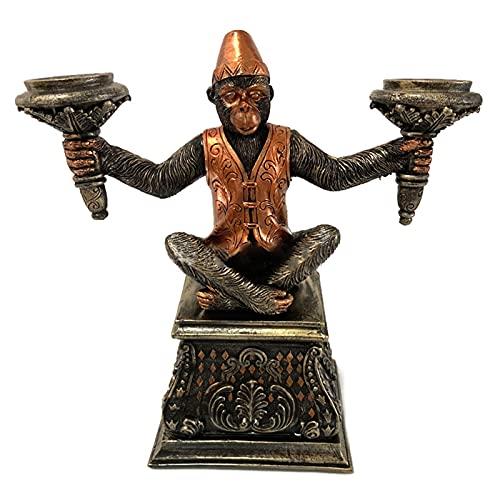 Taloit - Portacandele creativo a forma di scimmia religiosa in resina con animalieri e candelabri, per casa e ufficio