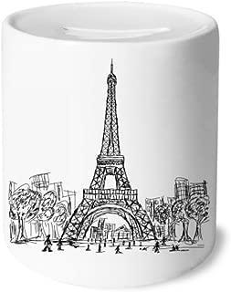 DIYthinker Eiffel Tower Square France Paris Money Box Saving Banks Ceramic Coin Case Kids Adults