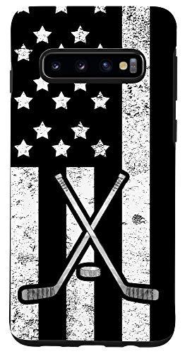 Galaxy S10 American Flag Ice Hockey Stick Puck Vintage Patriotic Case