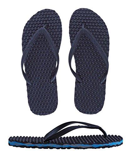SOULS Australian Thongs Zehentrenner Unisex Original Massage Noppen Sohle 'Blue Camo' Sandale Wellness Badeschuhe, Größe:46 EU