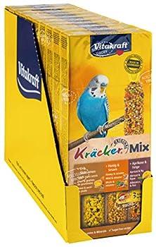 Vitakraft Kräcker Trio-Mix Miel Sésame/Abricot Figue/Œuf Graines de Graminées Perruches - Lot de 10 Paquets de 3 Kräckers