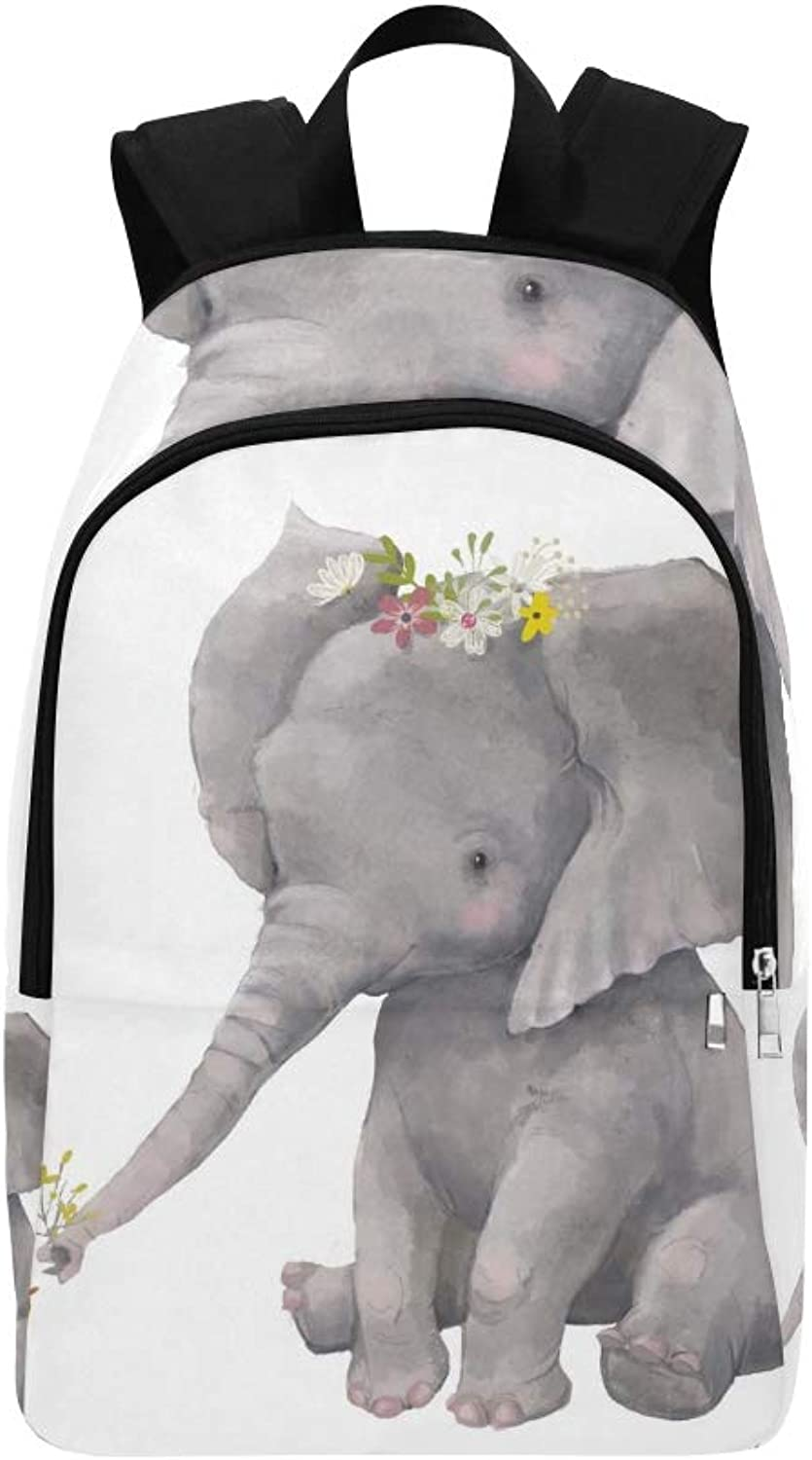 Cute Elephant Floral Wreath Little Duck Casual Daypack Travel Bag College School Backpack for Mens and Women