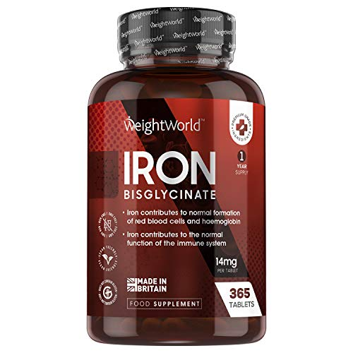 Iron Tablets 14mg - 365 Tablets (1 Year Supply) - Iron Health Support Supplement, for Immune System,...