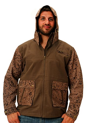 Mens Leather Hunting Jacket Brown Camo Rain/Wind Resistant Canvas & Leather