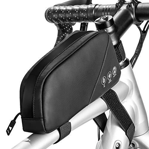 Lukovee Bolsa impermeable para tubo superior de bicicleta con cremallera sellada, para manillar de bicicleta, 0,8 L, color negro