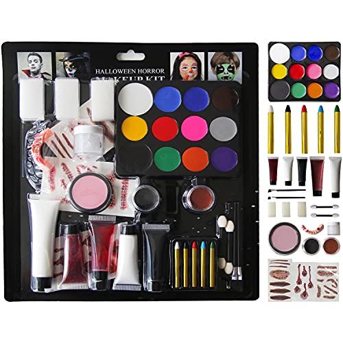 Halloween Makeup Kit for Adault and Kid Face Paint Makeup 37 Pcs Makeup Set for Halloween Party Suppiles