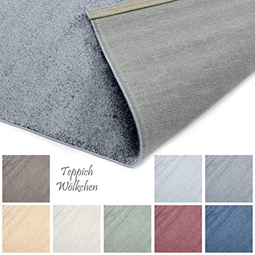 Designer-Teppich Pastell Kollektion | Flauschige Flachflor Teppiche fürs Wohnzimmer, Esszimmer, Schlafzimmer oder Kinderzimmer | Einfarbig, Schadstoffgeprüft (Dunkelgrau, 120 x 170 cm)