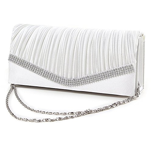 Bolso de Cadena de Diamantes de Imitacion de Senoras - SODIAL(R) Bolso de Mujeres Bolsa de Novia Bolso de Cadena de joyeria de Senoras Fiesta de Tarde (Blanco)