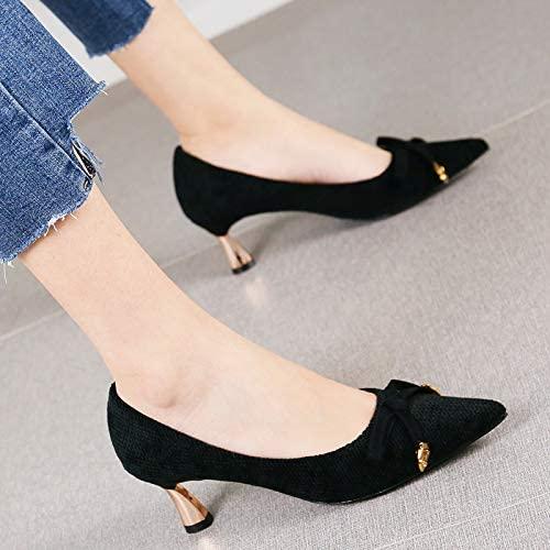 Pumps Temperament Wildleder Bequeme Bogen Stiletto Absatz Schuhe Wild Fashion Spitze Schuhe, 39, schwarz