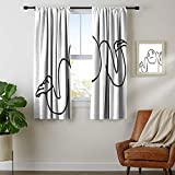 Wear Pole Curtains Window Decoration Curtain Whatever-Guy-Meme-Confusion-Gesture-Label-Creative-Drawing-Rage-Makers-Design Black-and-White Sleeping Environment Turns Black Set of 2 Panels W55 x L62