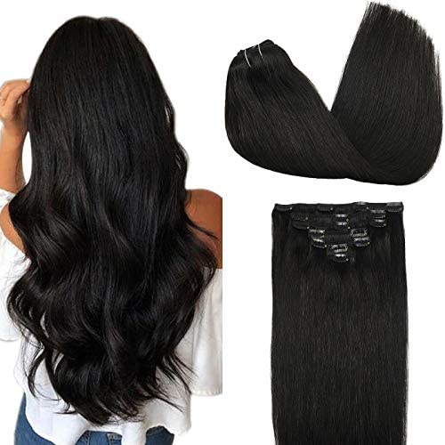 GOO GOO Hair Extensions Clip in Human Hair Natural Black 1b 7pcs 120g 16 Inch Remy Human Hair product image